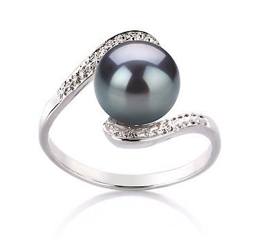 PearlsOnly Chantel Black 9.0-9.5mm AA Freshwater Sterling Silver With Rhodium Plated Cultured Pearl Ring