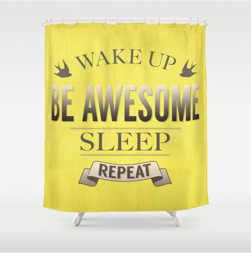 Quote shower curtain, yellow shower curtain, wake up and be awesome vintage retro quote in yellow and tan, whimsical bathroom decor