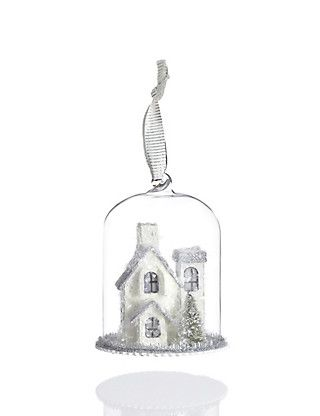 Bell Jar House Glass Christmas Bauble   M&S