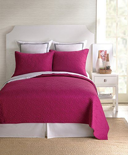 Trina Turk Santorini Coverlet Queen Fuchsia * Click image for more details.