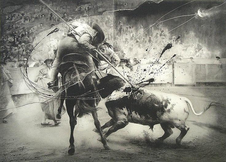 """""""El picador"""", grabado de la colección Génesis de tauromaquia de Eduardo Naranjo"""