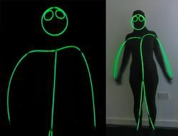 One black skin suit + green glowstick necklaces = a glowing stick man fancy dress! Easy!
