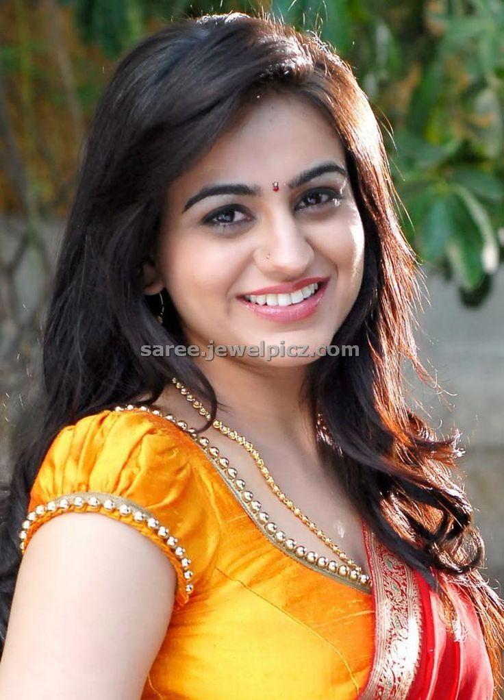 Aksha in beautiful red and green designer embroidery half saree ~ Celebrity Saree