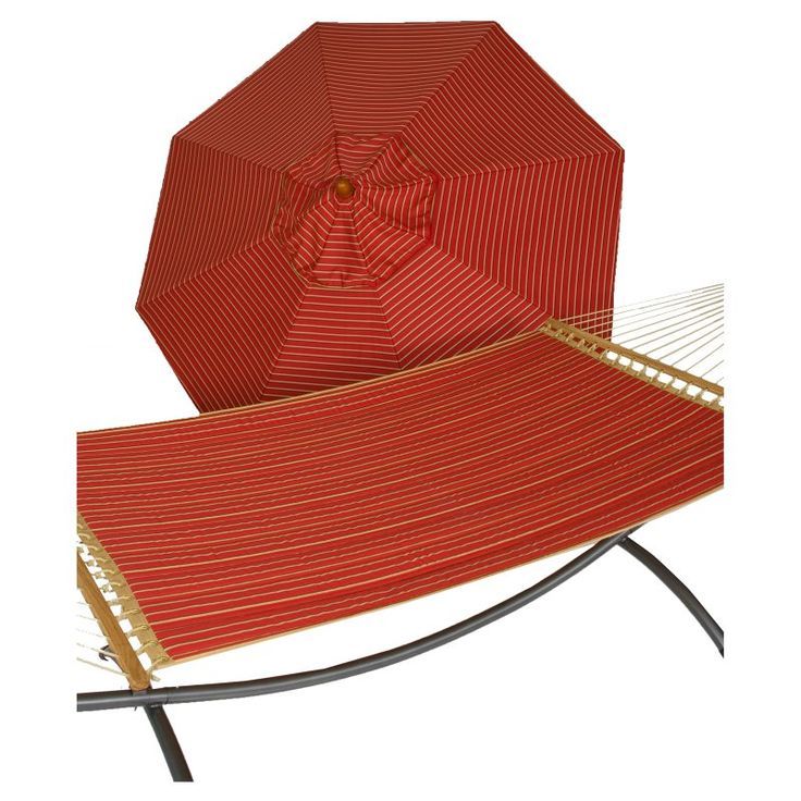 Phat Tommy 9 ft. Sunbrella Umbrella and Reversible Quilted Hammock Set Crimson - 330/355-COMBO.CRIMSON