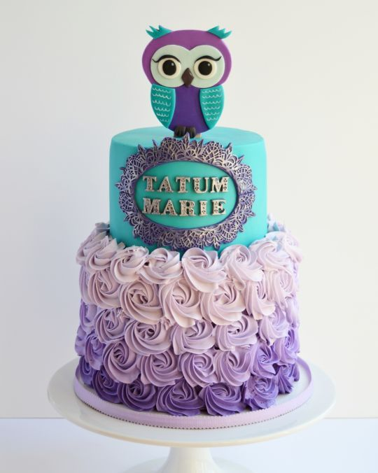 Teal and purple owl cake