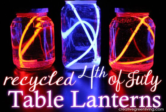 Make fourth of july lanterns with glow sticks and old jars