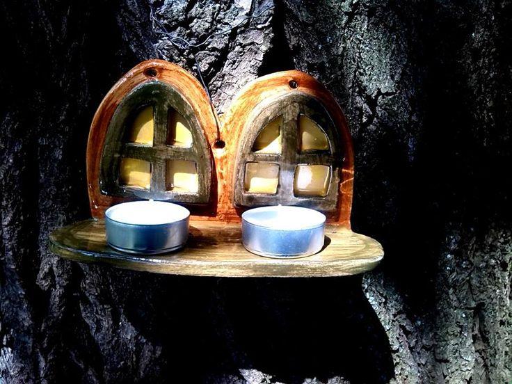 Fára akasztható ablak, mécsessel / Window shaped tealights hanging on a tree  www.mesekeramia.hu #mesekerámia #tündérfa #manófa #fairygarden