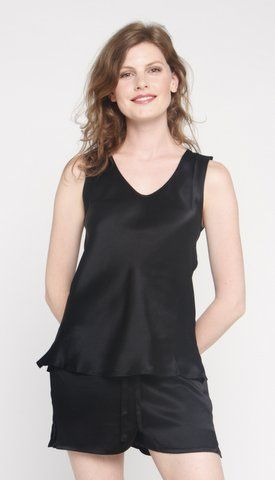 Sleeveless silk tops available in black, ivory and mink colours. $85