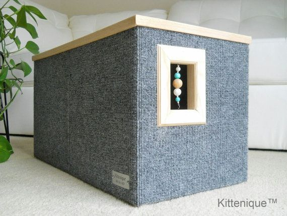 Kittenique Gray Beaded Cat House. Handcrafted wooden cat house featuring a unique beaded doorway and window that will satisfy your cat's curiosity.