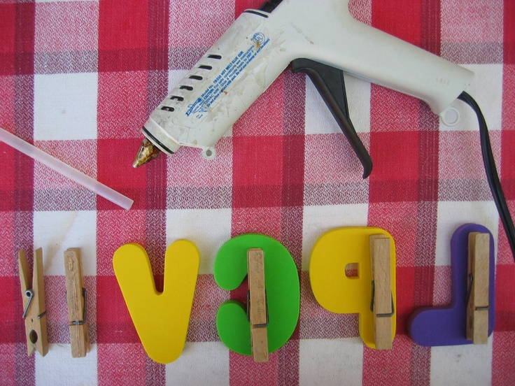 "Glue Clothes Pins on the back of Foam Letters and Numbers. Clip them all around in various places indoors and out and play ""I SPY""...""I spy with my little eye, something that has the letter A on it."""