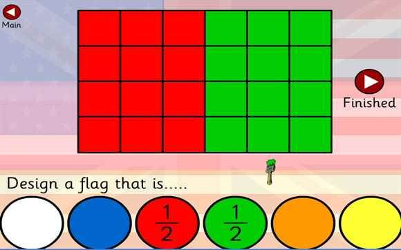 Fractions Flags 1/2 and 1/4