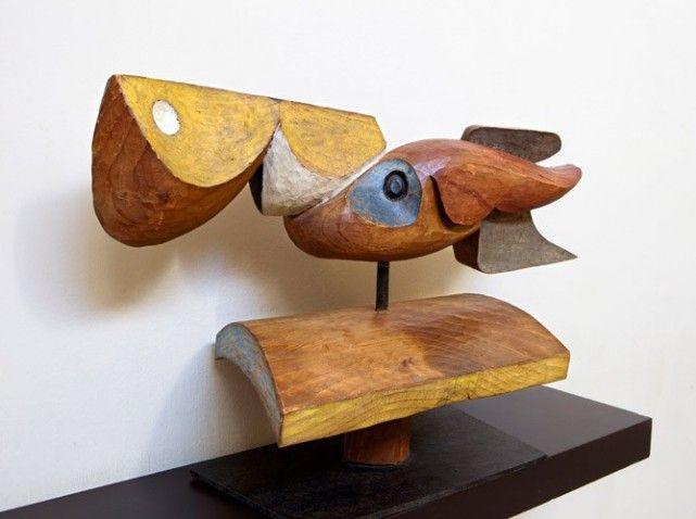 Eau, Ciel, Terre, sculpture en bois polychrome signée Le Corbusier et Joseph Savina, ébéniste, 1954.