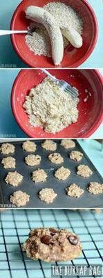 2 RipeBananas - 1c oatmeal Cookies   Can add chocochips or coconut or nuts or raisins. Bake 350C for 15 mins.