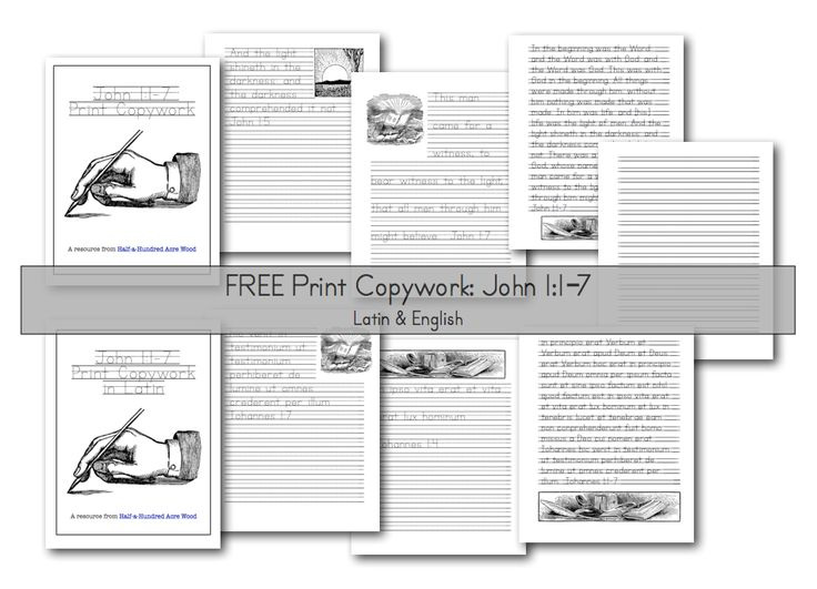 All weeks.  John 1 Copywork: Print and Cursive Penmanship.  Free Printables from Half a Hundred Acre Wood blog