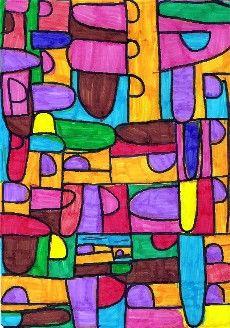 À la manière de Klee (mais je le fais avec le prénom des enfants)