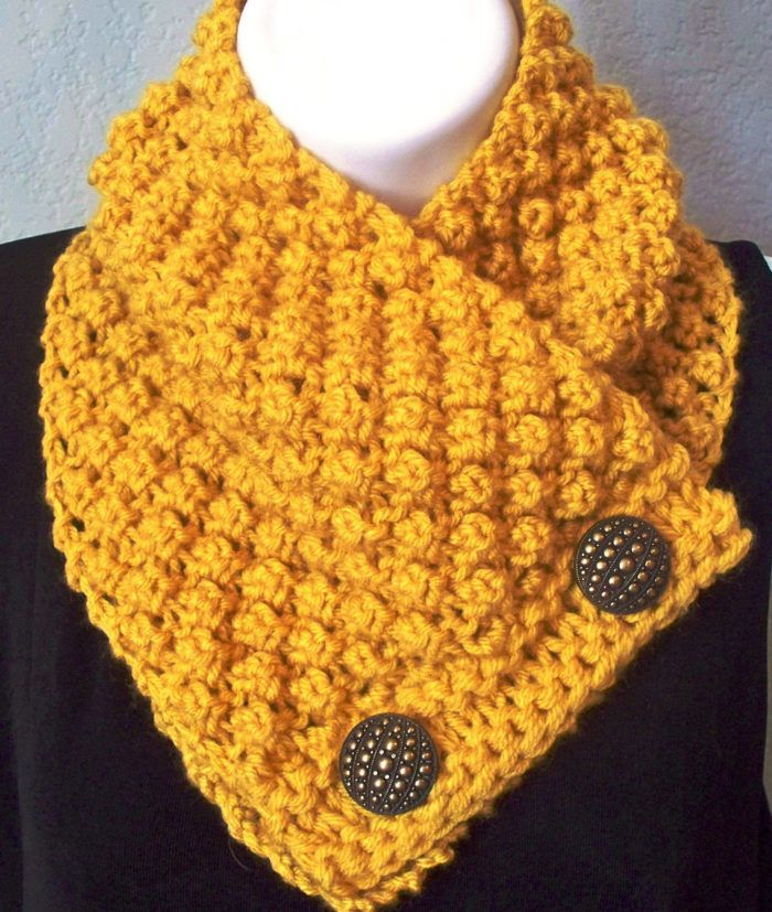 Free Knitting Pattern for Blackberry Button Scarf Pattern - Buttoned neckwarmer cowl in trinity stitch. Worsted yarn. Designed by Karen Johnson Bennett