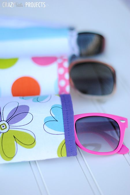 Make a sunglasses case in 3 steps! Takes about 10 minutes and only uses straight lines.