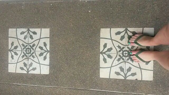 Tiles on pavement in old town Phuket