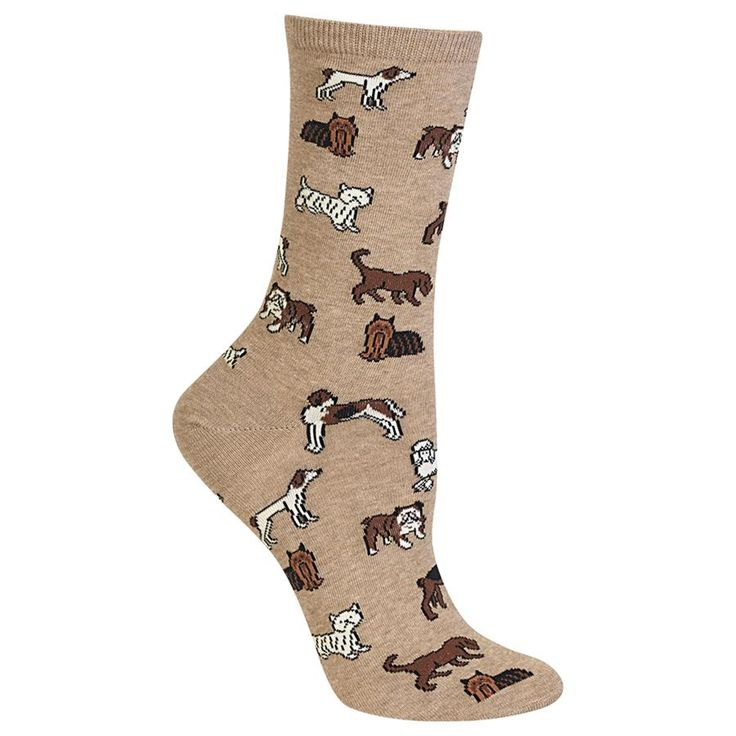 These classic dog lovers socks feature a variety of different breeds.          Size:Fits women's shoe size 4-10.5        Crew height       C...