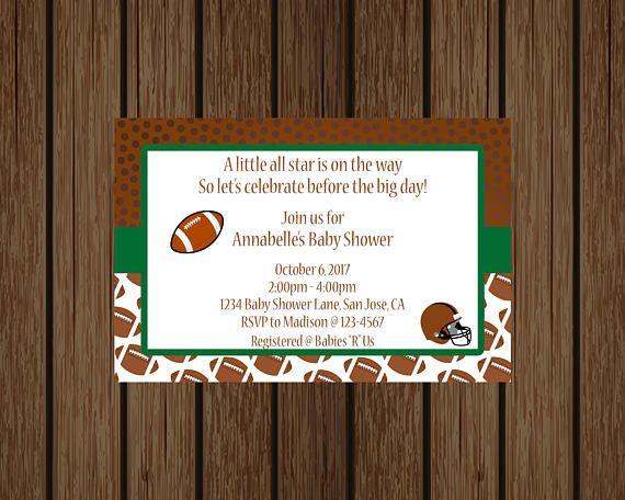 Football Baby Shower Invitation, Sports Baby Shower Invitation, Boy Baby  Shower Invitation
