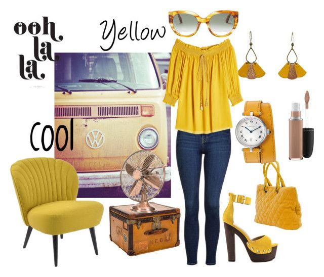 """""""Retro and yellow fashion"""" by marianaleonluzardo on Polyvore featuring Luichiny, Atelier Maï Martin, Louis Vuitton, Topshop, Roberto Cavalli, MAC Cosmetics and TOMS"""