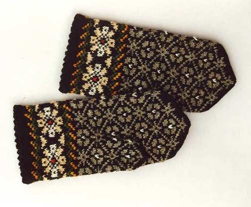 High quality hand knitted warm wool mittens , gloves Grey and Black pattern Decorated with bright Daisies. $50.00, via Etsy.