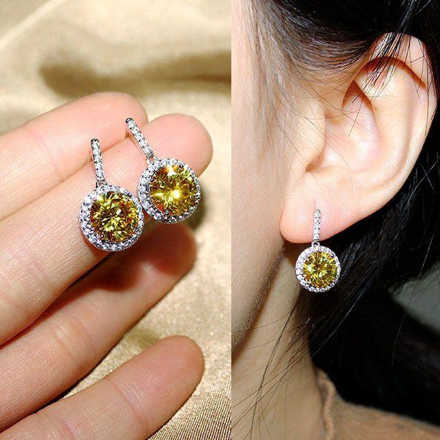 Sparkling Mode Putaran CZ berlian Drop Earrings Sapphire Biru Merah Merah Muda Kuning Hijau Batu Dangle Earrings Untuk Wanita Perhiasan