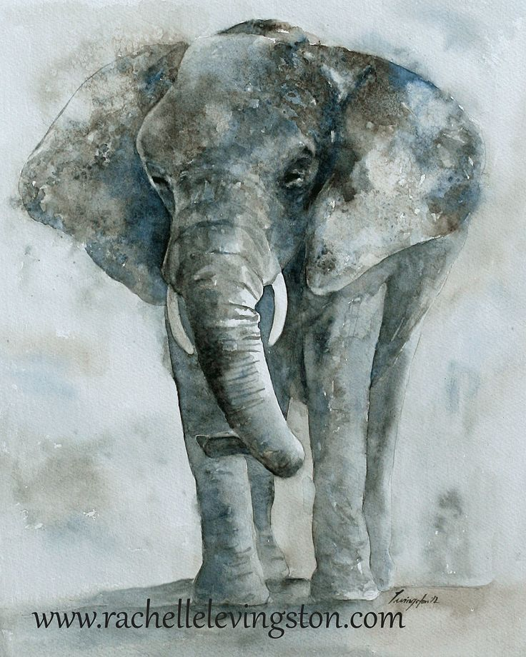 Print of Elephant / Art  Elephant Wall art (8 x 10 elephant nursery print /elephant nursery art print) in gray grey blue brown. $16.00, via Etsy.