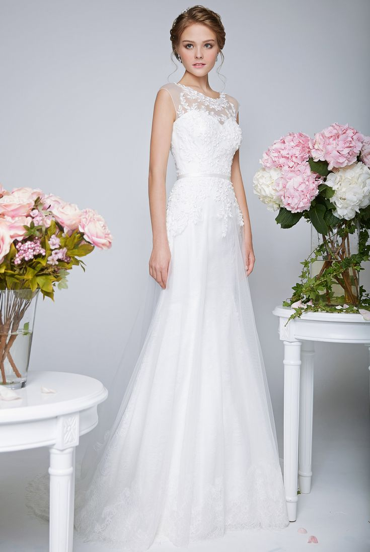 Simple Wedding Dresses with Illusion Necklines These dresses manage to be both soft and feminine while also discretely sexy Bridal Boutique Singapore Wedding