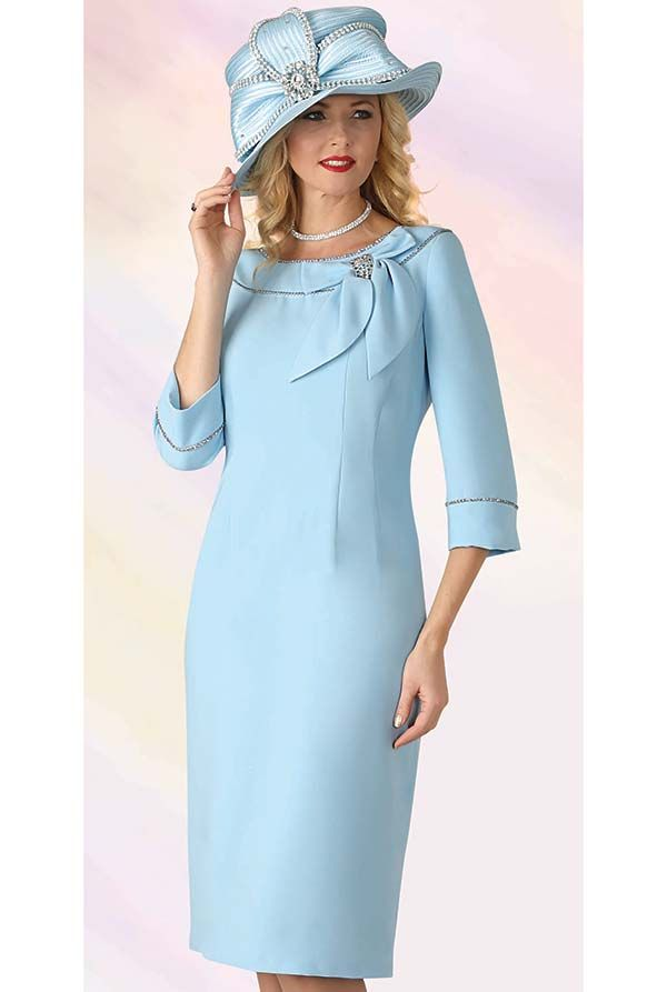 Lily And Taylor 4338 French Crepe Fabric Dress With Bow On Portrait Style Collar Womens Dress Suits Church Suits And Hats Church Dresses For Women