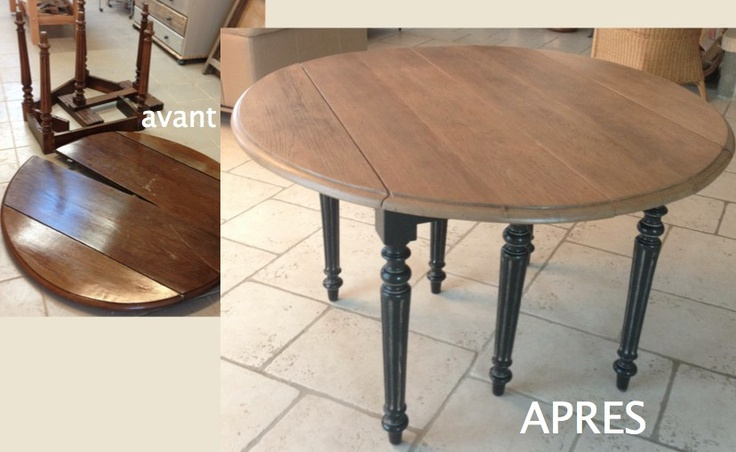 Table en ch ne restaur e et relook e deco int rieur for Table ancienne repeinte