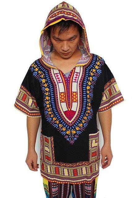 Dashiki Hoodies Loose African Hooded Dashiki Fabric Hood 100% Cotton Fashion Clothes Unisex Kimono