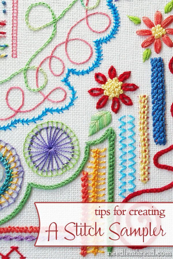 Tips for embroidering a stitch sampler! Includes why it's a good idea to make one, and how to go about embroidering your own.