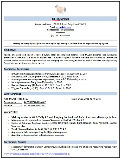 Example Template of an Excellent ICWA and M Com Resume Sample with Great Career Objective, Job Profile and Work Experience, Professional Curriculum Vitae with Free Download in Word Doc / PDF (2 Page Resume) (Click Read More for Viewing and Downloading the Sample)   ~~~~ Download as many CV's for MBA, CA, CS, Engineer, Fresher, Experienced etc / Do Like us on Facebook for all Future Updates ~~~~