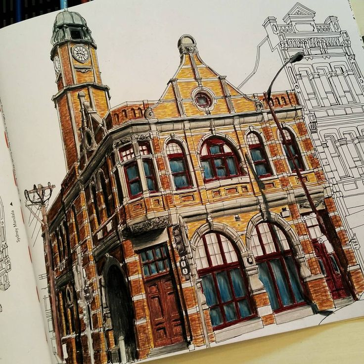 """""""Finished page in my #fantasticcitiescolouringbook #fantasticcities #adultcoloringbook #newtownpostoffice"""""""
