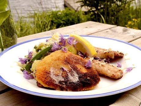 Ernst Kirchsteigers recept på Wallenbergare på gädda.Servera med en sallad på färskpotatis, sparris och sockerärter. Foto: TV4