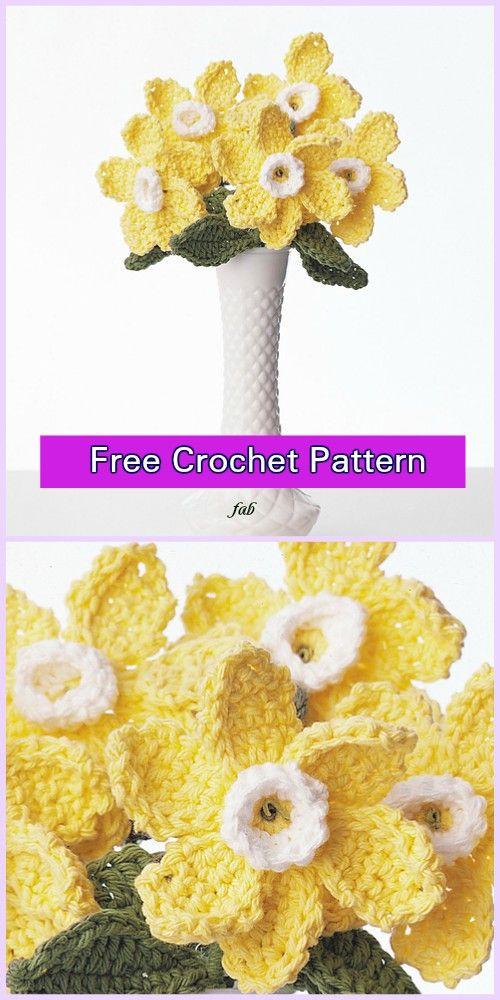 Crochet Daffodil Flower Free Patterns Crochet Pinterest
