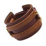 #Gioielli #3: R&B Gioielli - Bracciale Uomo - Polsino XL regolabile Chiusura a Pressione - Cuoio, Metallo (Marrone Cammello, Oro)