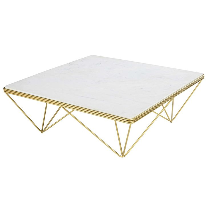 Table basse carr e en marbre et m tal gatsby for Table basse carree metal