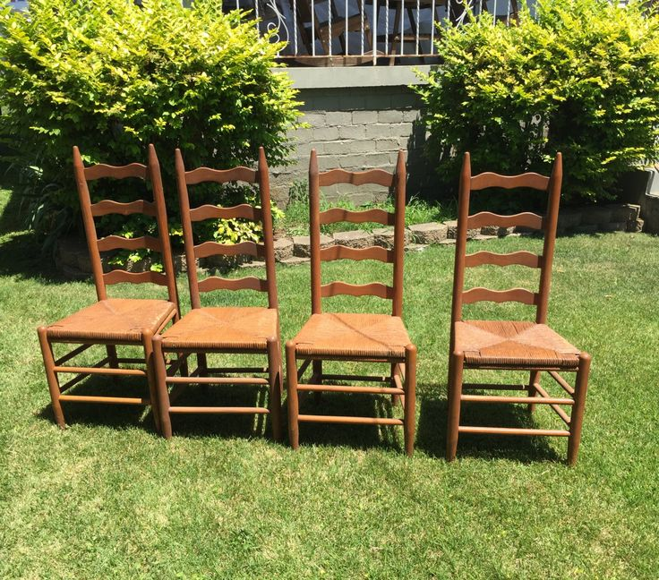 Beautiful Vintage Ladder Back Chairs, Sturdy, Show Minimal Wear, Beautiful Tall Back  Chair With