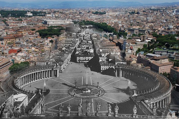 This is how the Borgo Pio borough was before Fascism.  Piazza San Pietro con la spina di Borgo.