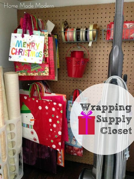 Home Made Modern: Wrapping Supply Closet with Peg Board