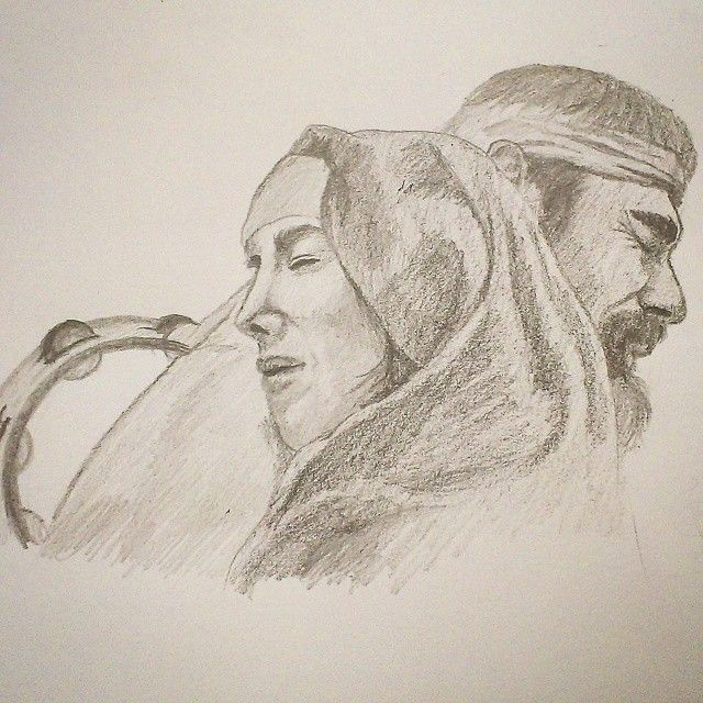 """""""Jephthah and His Daughter""""  Done with Derwent Graphic Pencils"""