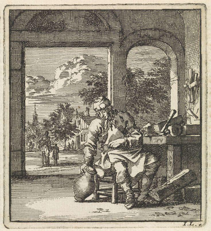 Jan Luyken   Naast een schaafbank zit een man met een kan, Jan Luyken, wed. Pieter Arentsz & Cornelis van der Sys (II), 1711  