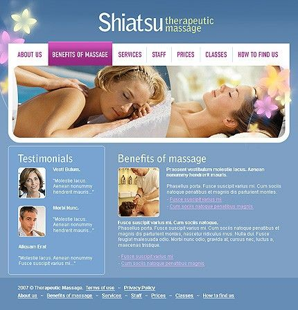 Shiatsu Massage Website Templates by Cotton