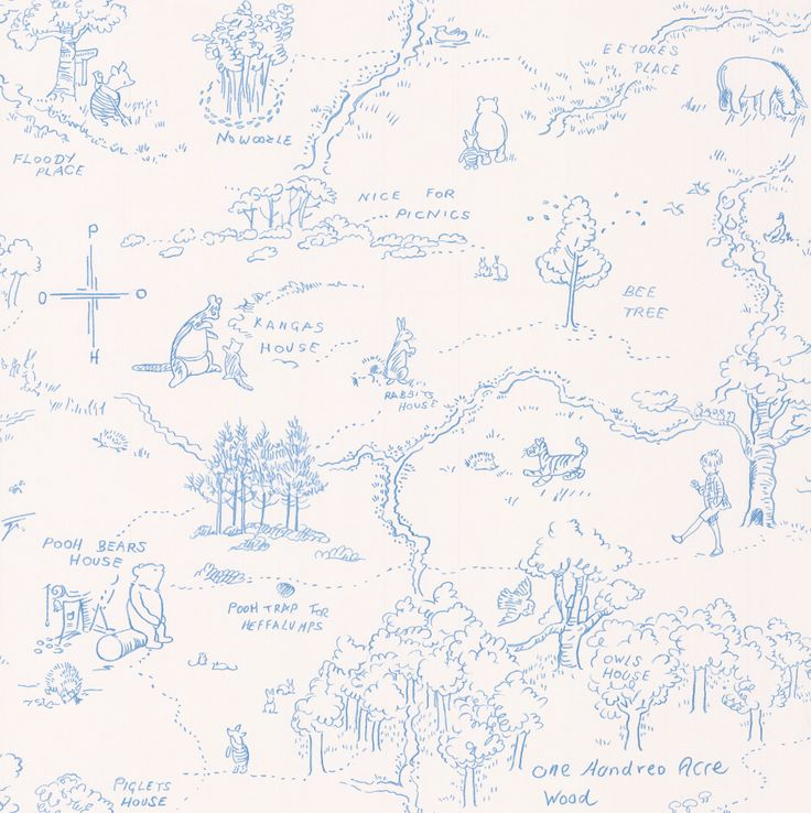 Jane Churchill One Hundred Acre Wood Map Blue Wallpaper 54 font