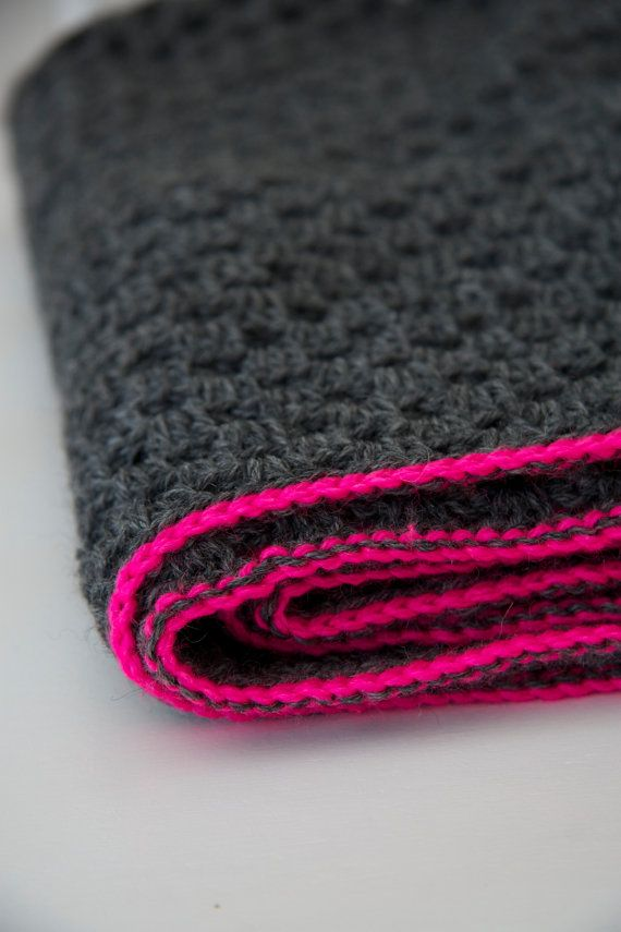Granny blanket with neon trim