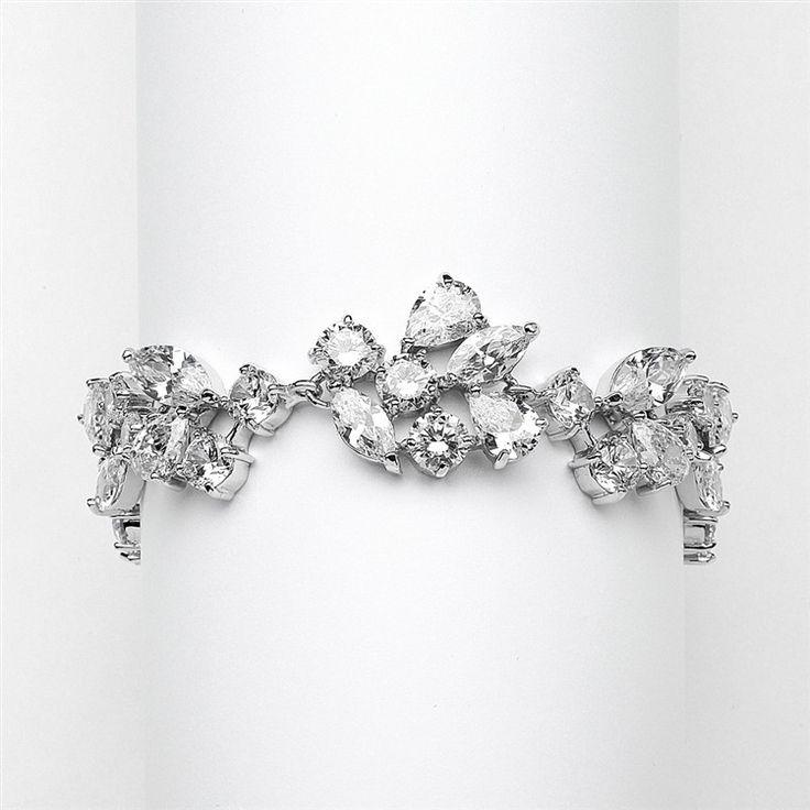 Top Selling Mosaic Shaped CZ Wedding Bracelet in Silver Rhodium - Petite Size $51.95 www.nuptialsboutique.com #bride #brides #wedding #weddings #weddingjewelry #jewelry #bridal jewelry #bridesmaidsgifts #bracelet #silver #diamond
