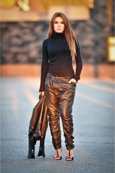 Loose fit leather trousers & turtleneck jumper