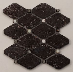 Rhomba & Dot mosaic in Metallic. Also available in Emerald Green and Antique Blue. #mosaic #tile #metallic